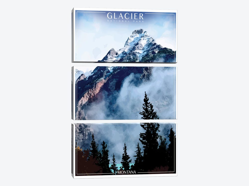 Glacier National Park by Old Red Truck 3-piece Canvas Art