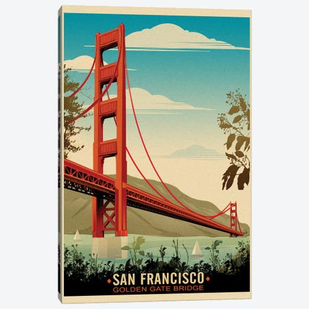 Golden Gate Bridge, Daybreak Canvas Print #ORT34} by Old Red Truck Canvas Wall Art