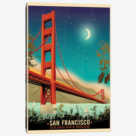 Golden Gate Bridge, Night Canvas Print #ORT35} by Old Red Truck Canvas Art