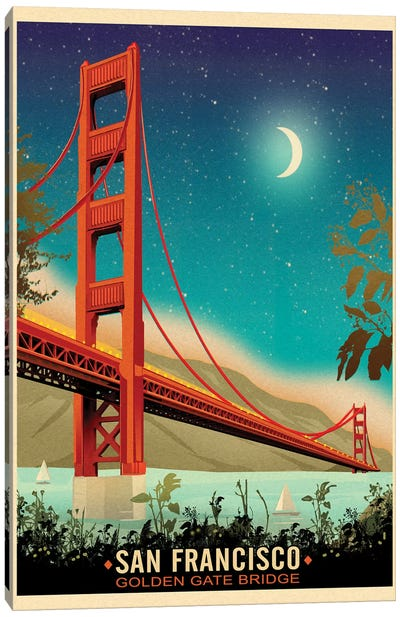 Golden Gate Bridge, Night Canvas Art Print