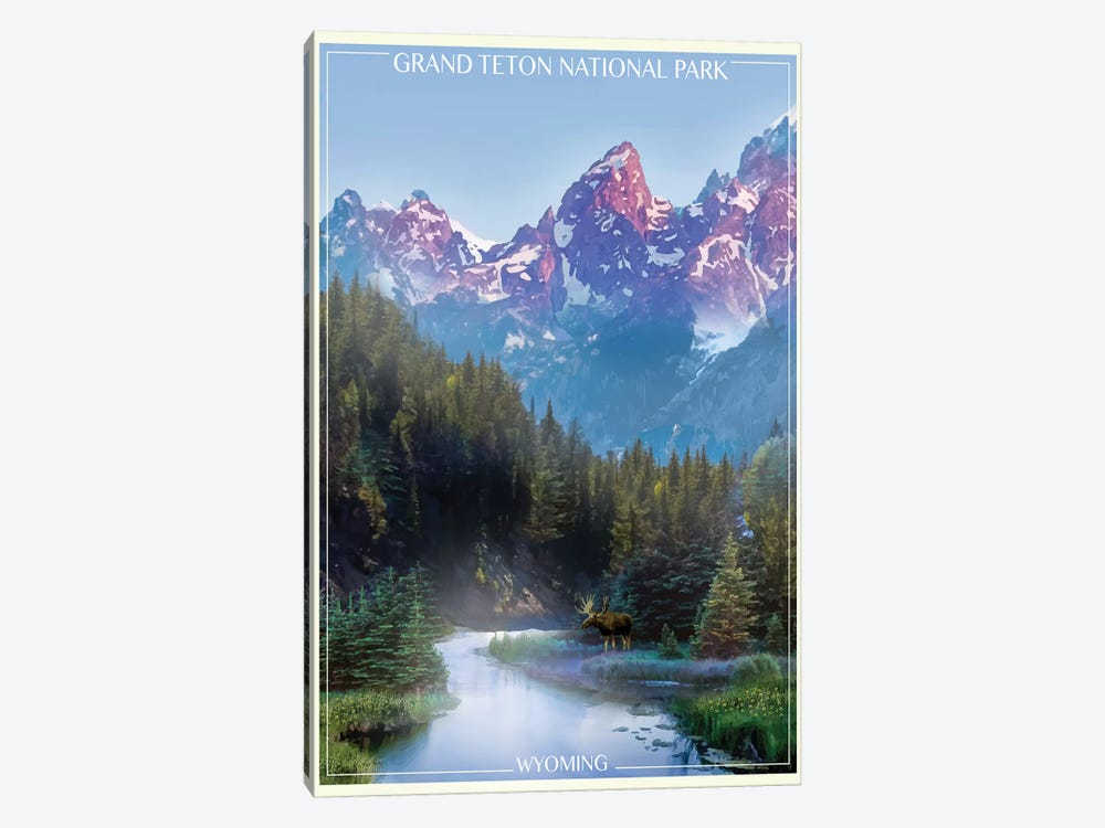 Grand Tetons by Old Red Truck 1-piece Canvas Art Print