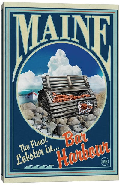 Bar Harbour, Maine Lobster Canvas Art Print