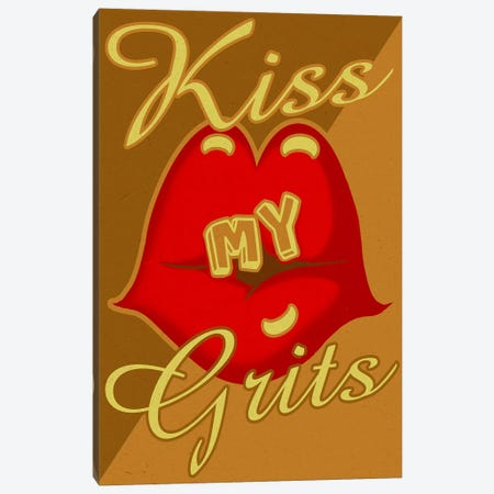 Kiss My Grits Canvas Print #ORT49} by Old Red Truck Canvas Art