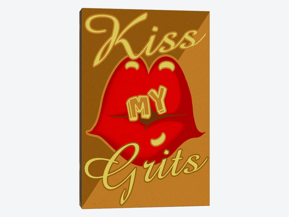 Kiss My Grits by Old Red Truck 1-piece Canvas Art Print