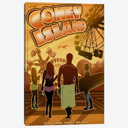 Luna Park, Coney Island 3-Piece Canvas #ORT53} by Old Red Truck Canvas Print