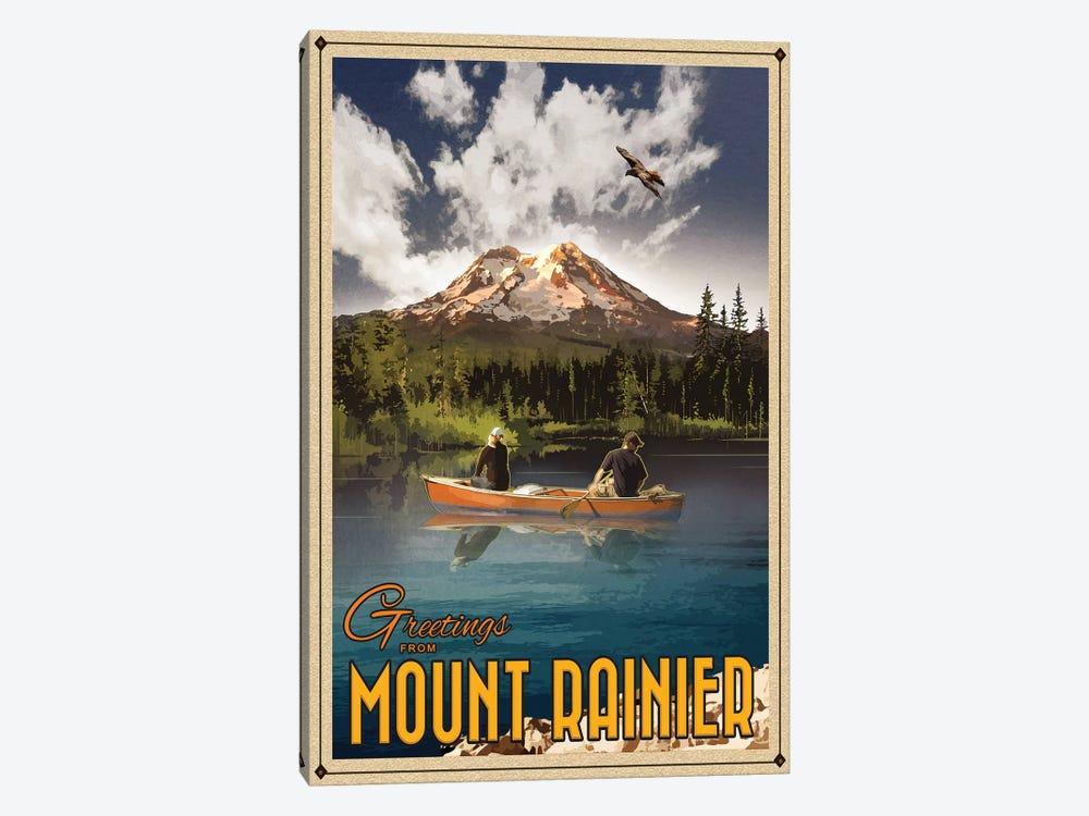 Mt. Rainier by Old Red Truck 1-piece Canvas Art Print