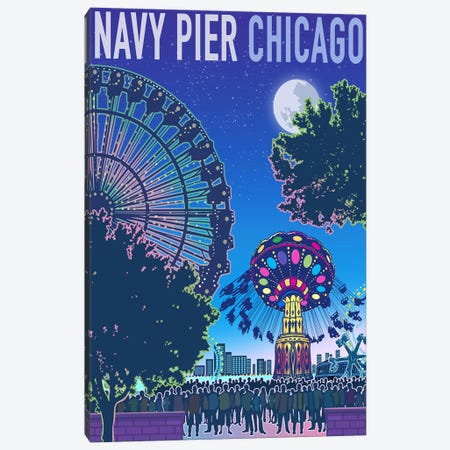 Navy Pier Chicago Canvas Print #ORT62} by Old Red Truck Canvas Wall Art