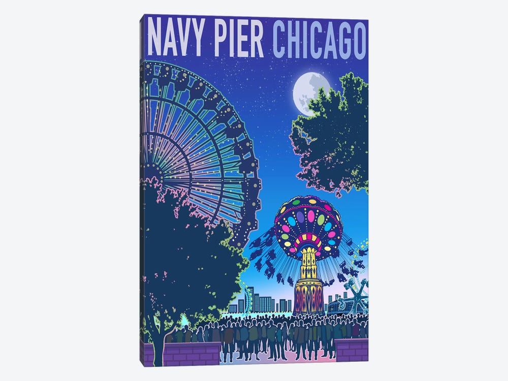 Navy Pier Chicago by Old Red Truck 1-piece Canvas Wall Art
