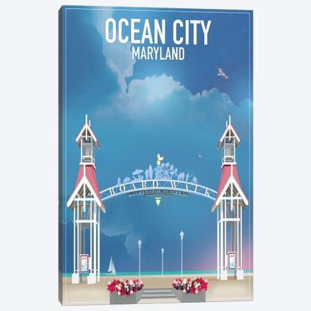 Ocean City, Maryland 3-Piece Canvas #ORT64} by Old Red Truck Art Print