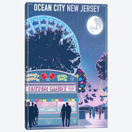 Ocean City, New Jersey 3-Piece Canvas #ORT65} by Old Red Truck Canvas Art Print