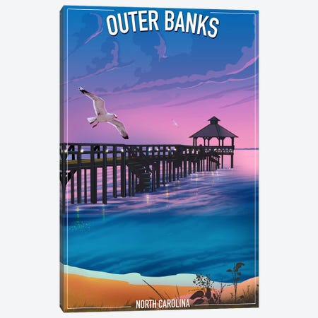 Outer Banks 3-Piece Canvas #ORT67} by Old Red Truck Canvas Print