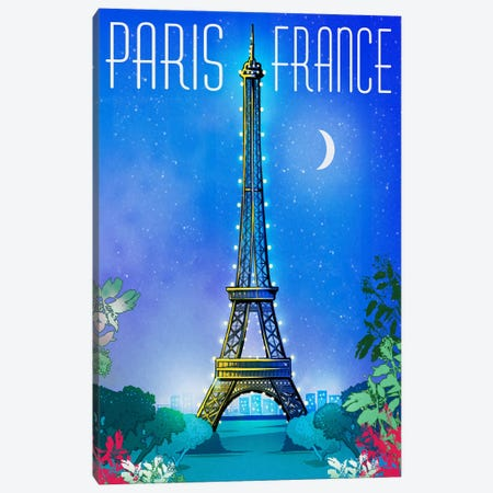 Parisian Night Canvas Print #ORT70} by Old Red Truck Canvas Art Print