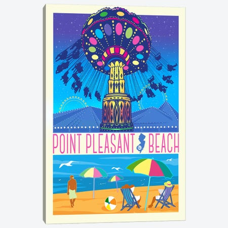 Point Pleasant Beach, New Jersey 3-Piece Canvas #ORT75} by Old Red Truck Canvas Art