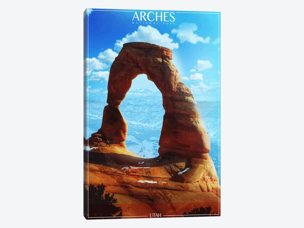 Arches National Park by Old Red Truck 1-piece Canvas Art