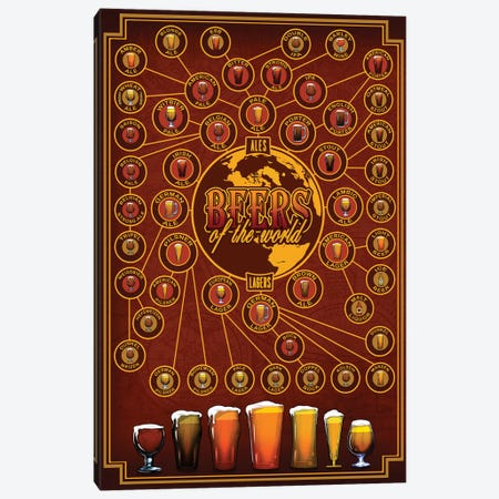 Beers Of The World Canvas Print #ORT7} by Old Red Truck Art Print