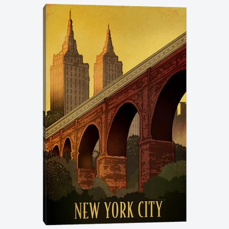 Vintage New York Canvas Print #ORT88} by Old Red Truck Canvas Wall Art