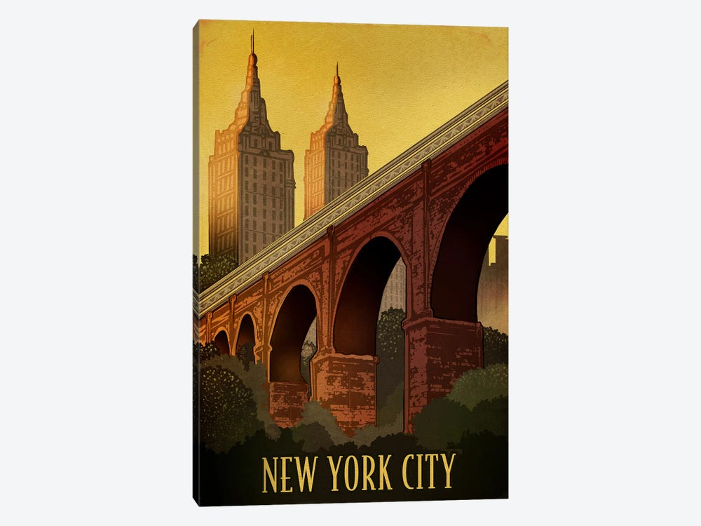 Vintage New York by Old Red Truck 1-piece Canvas Artwork