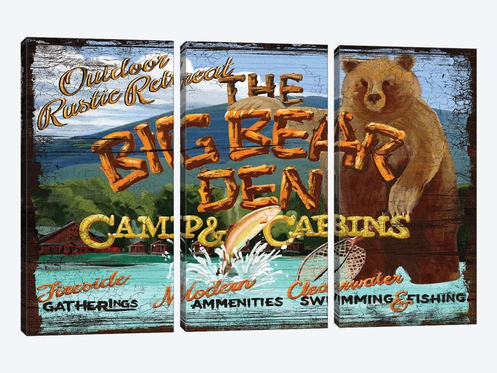 Big Bear Den by Old Red Truck 3-piece Canvas Artwork