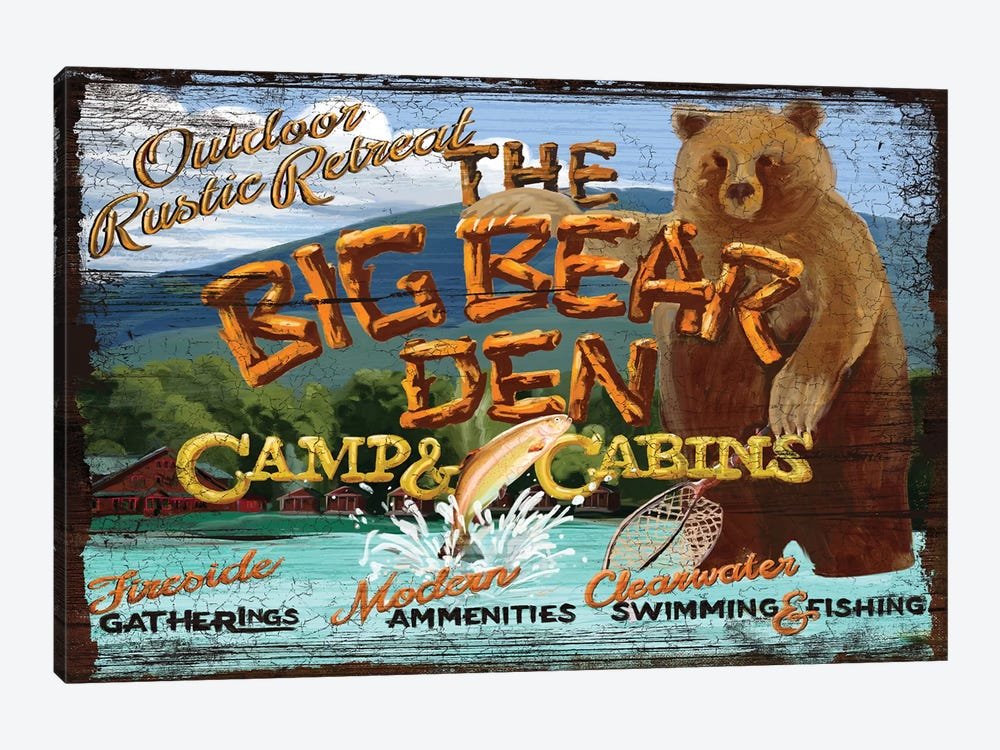 Big Bear Den by Old Red Truck 1-piece Canvas Artwork