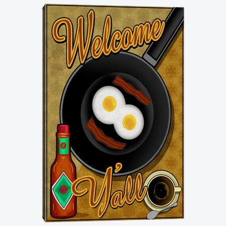 Welcome Y'all Canvas Print #ORT90} by Old Red Truck Canvas Art Print