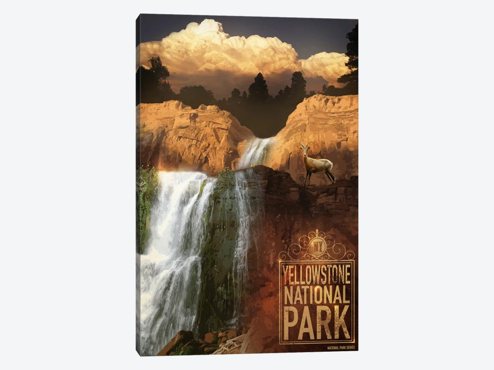 Yellowstone National Park by Old Red Truck 1-piece Canvas Wall Art