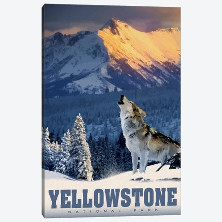 Yellowstone Wolf Canvas Print #ORT94} by Old Red Truck Canvas Wall Art
