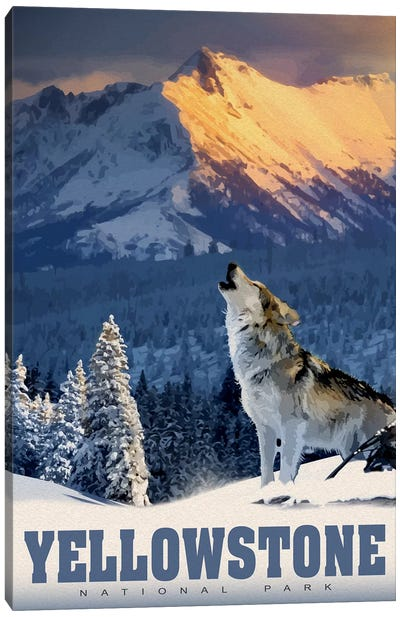 Yellowstone Wolf Canvas Art Print