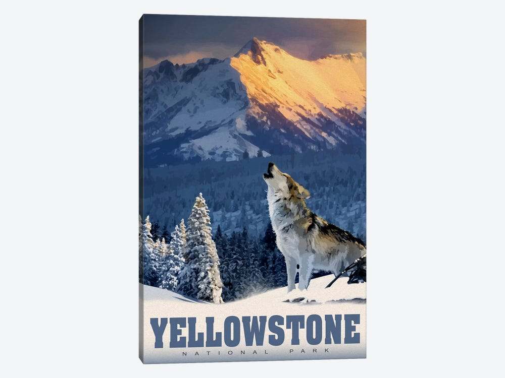 Yellowstone Wolf by Old Red Truck 1-piece Canvas Print