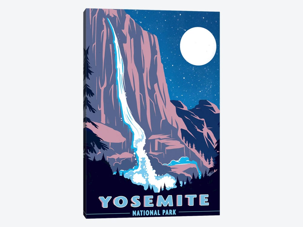 Yosemite National Park, Night by Old Red Truck 1-piece Canvas Art Print