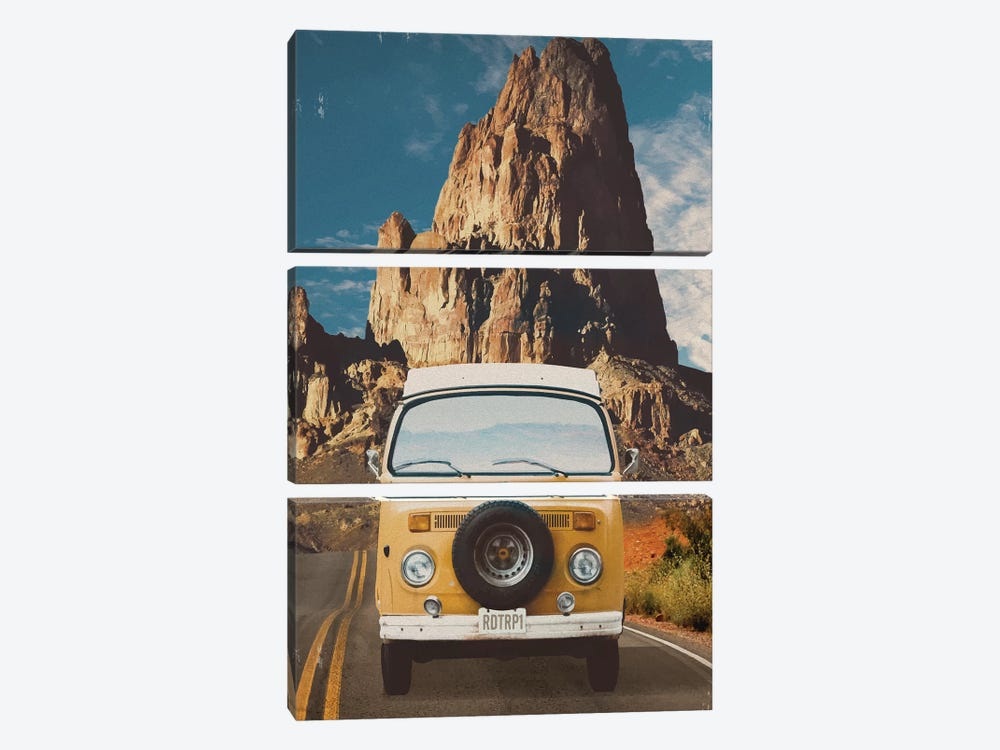 Across the Desert in Yellow by Old Red Truck 3-piece Art Print