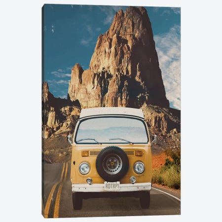 Across the Desert in Yellow Canvas Print #ORT98} by Old Red Truck Canvas Print