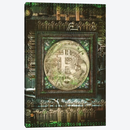 Bitcoin Steam Punk 3-Piece Canvas #ORT9} by Old Red Truck Canvas Artwork