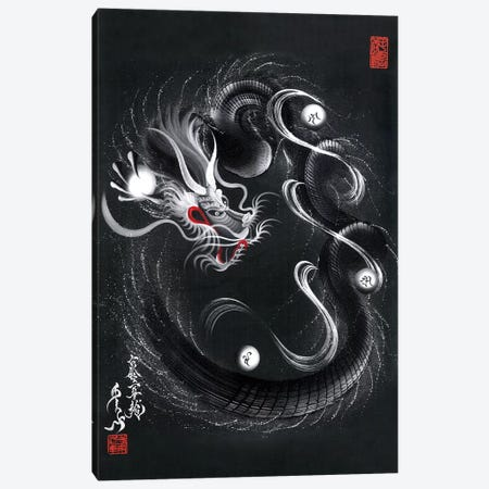 Guardian Silver Black Dragon Canvas Print #OSD13} by One-Stroke Dragon Canvas Artwork