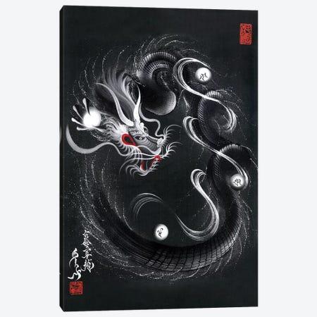 Guardian Silver Black Dragon Canvas Print #OSD13} by One-Stroke Dragon Canvas Artwork