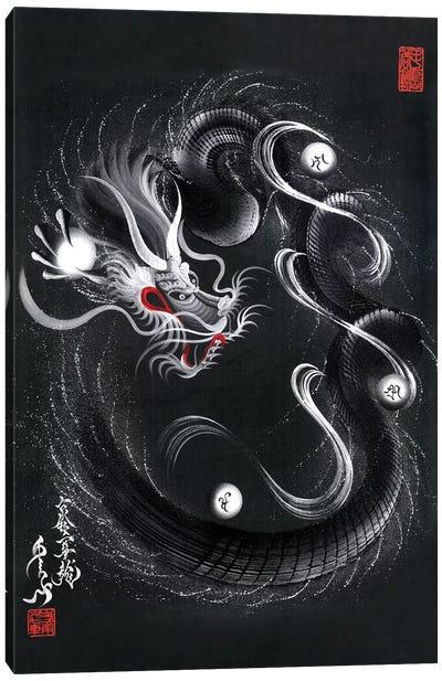 Guardian Silver Black Dragon Canvas Art Print