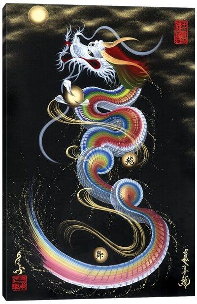 Rainbow Rising Dragon To The Moon Canvas Art Print