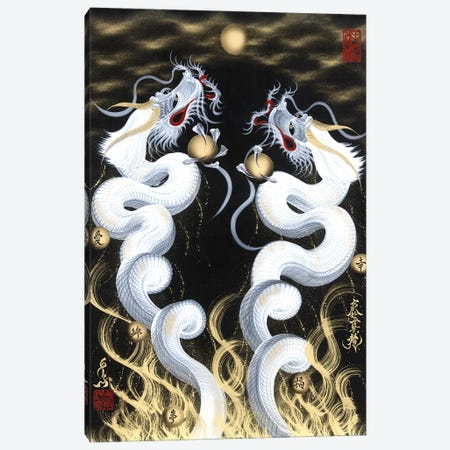 Rising Twin White Dragon To The Moon Canvas Print #OSD15} by One-Stroke Dragon Canvas Art Print