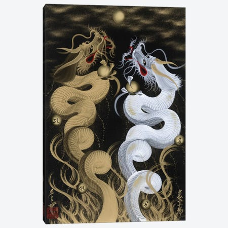 Flying Twin Dragons White & Gold Canvas Print #OSD2} by One-Stroke Dragon Canvas Art