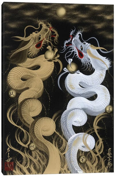 Flying Twin Dragons White & Gold Canvas Art Print
