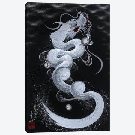 Good Luck White Dragon Canvas Print #OSD3} by One-Stroke Dragon Canvas Wall Art