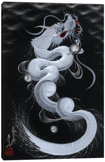 Good Luck White Dragon Canvas Art Print