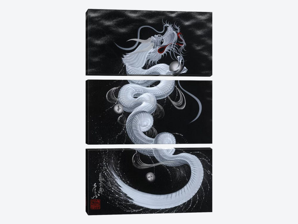 Good Luck White Dragon by One-Stroke Dragon 3-piece Canvas Artwork