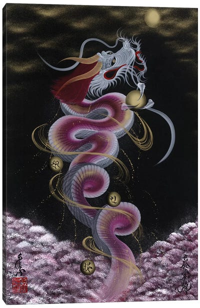 Heavenly Dragon To The Moon Canvas Art Print