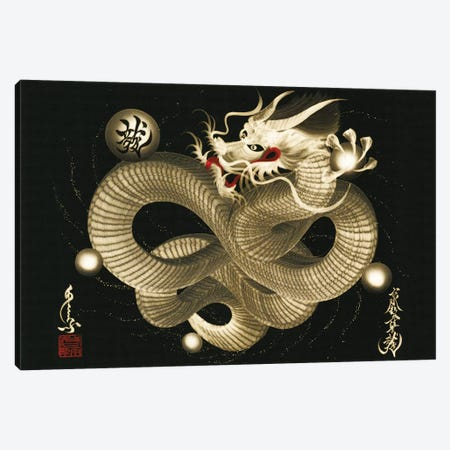 Impending Sky Dragon 3-Piece Canvas #OSD7} by One-Stroke Dragon Canvas Print