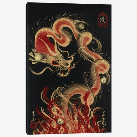 Protective Fire Dragon 3-Piece Canvas #OSD8} by One-Stroke Dragon Canvas Wall Art