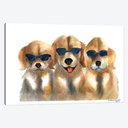 Dogs in Glasses Canvas Print #OSF106} by Olga Shefranov Canvas Art