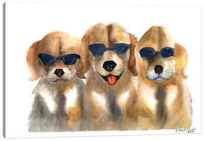 Dogs in Glasses Canvas Art Print