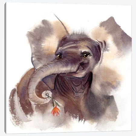 Elephant III Canvas Print #OSF118} by Olga Shefranov Canvas Artwork
