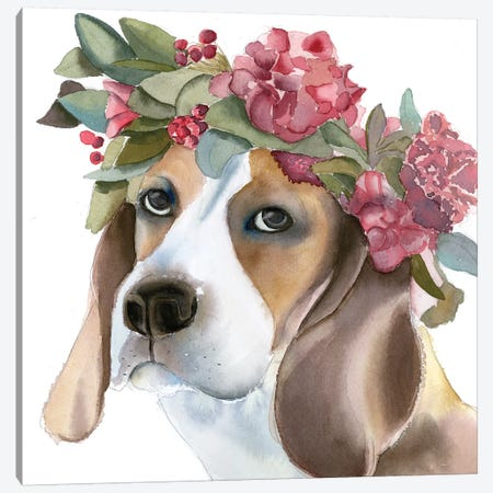 Flower Crown Puppy 3-Piece Canvas #OSF141} by Olga Shefranov Art Print