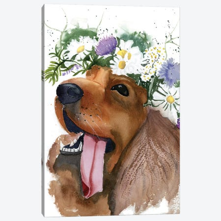 Flower Crown Puppy II Canvas Print #OSF142} by Olga Shefranov Canvas Art Print